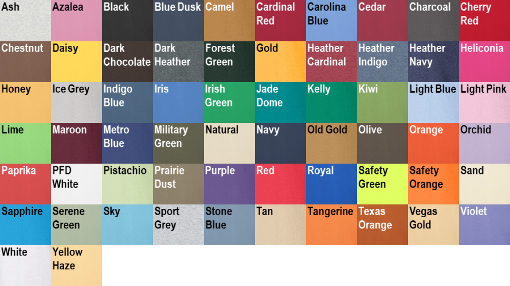 Similiar 100 Cotton Gildan Color Chart Keywords